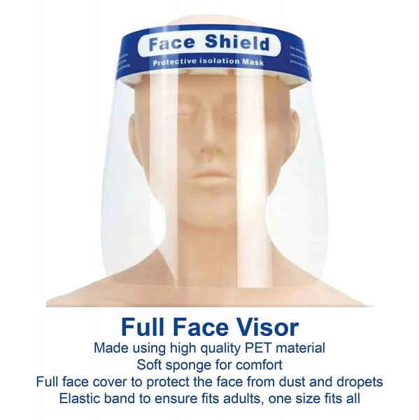 Safety Face Shield - Full Protection Wide Visor