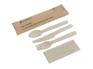Wooden Cutlery Sets - 4 In 1 Pack - Knife / Fork / Spoon / Napkin x 50