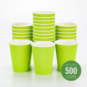 Green Triple Wall Ripple Cups & Lids