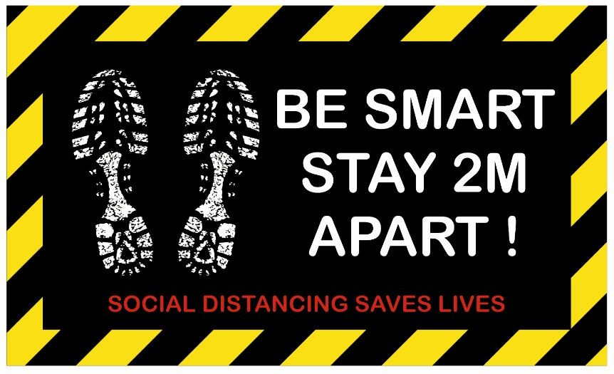 Be Smart Stay 2M Apart Anti Slip Floor Sticker